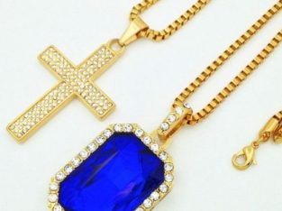 Ice Studded Crucifix & Blue Ruby Pendant Chain