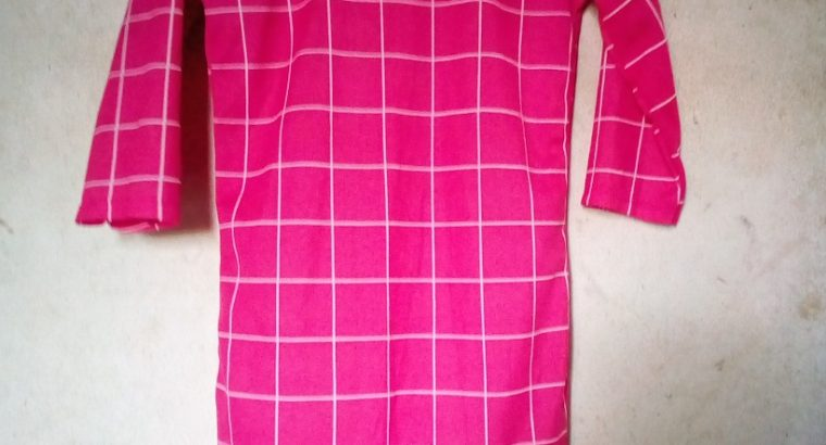 Ladys' High and low Pink and White Shirt