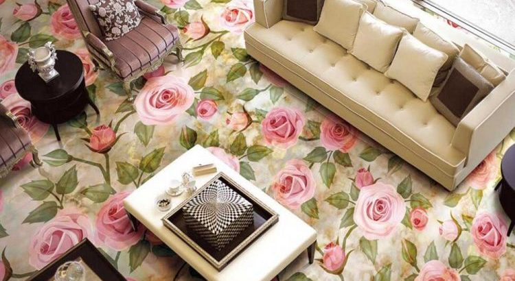3d Pink Rose Epoxy Flooring